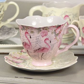 Flamingo Tea Cup And Saucer