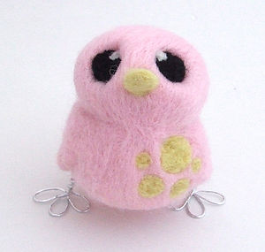 Needle Felted Pastel Bird Spotty Chick