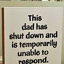 'This Dad Has Shut Down' Hand Painted Sign