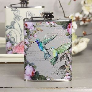 Hummingbird Hip Flask - garden