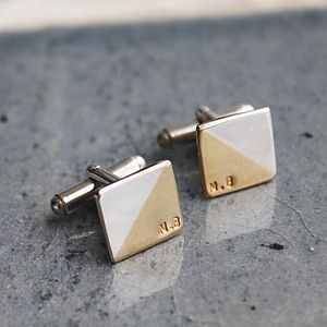 Personalised Square Two Tone Cufflinks - cufflinks
