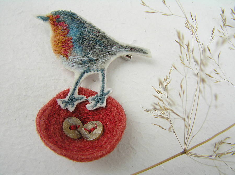 Robin And Nest Brooch