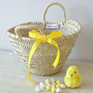 Easter Hunt Basket With Yellow Bow - easter egg hunt