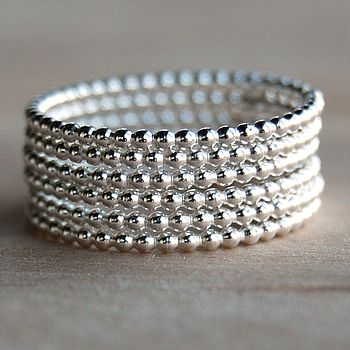 Six beaded silver stacking rings
