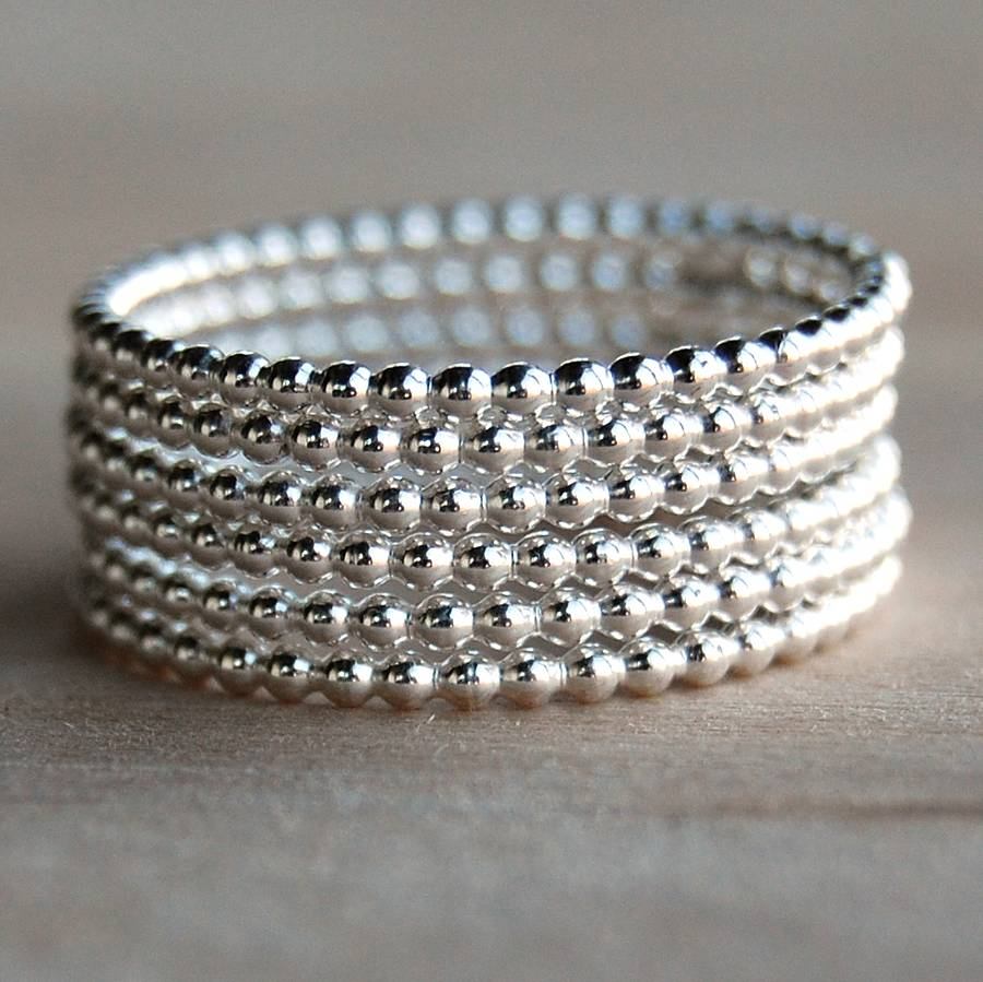 three beaded sterling silver rings for stacking by alison