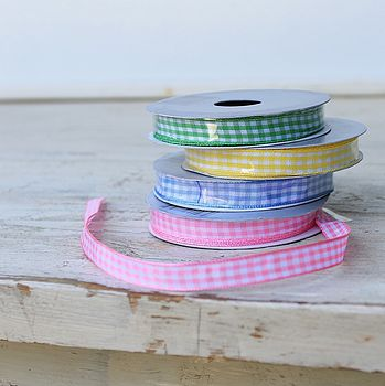 Set Of Four Gingham Pastel Ribbons