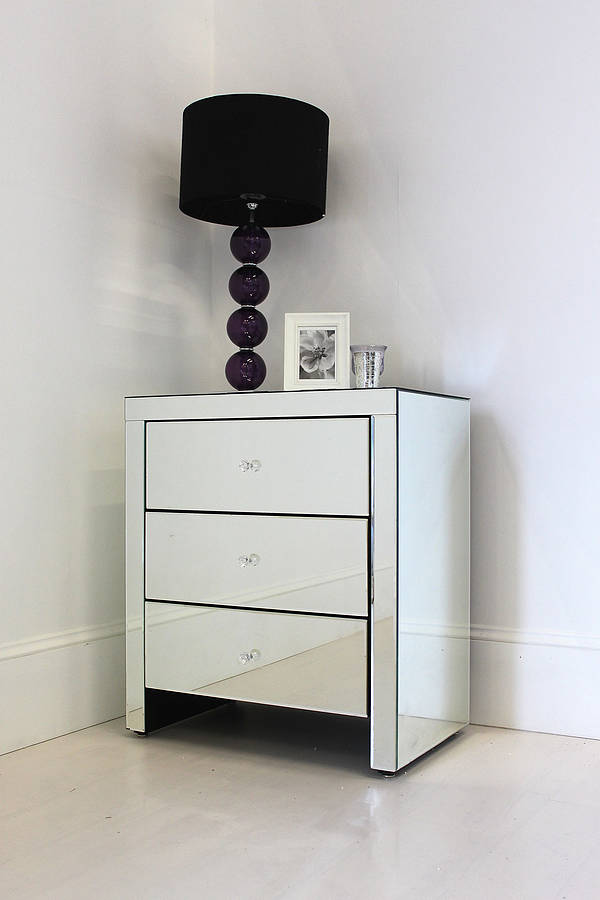 Mirrors Behind Bedside Tables: Wide Mirrored Bedside Table By Out There Interiors