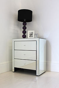 Wide Mirrored Bedside Table - bedroom