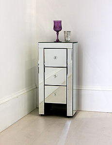 Narrow Mirrored Bedside Table - bedroom