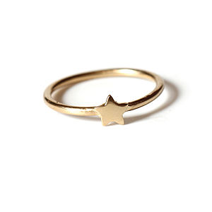 18k Gold Plated Sterling Silver Tiny Star Ring - celestial jewellery