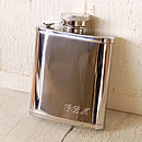 Thumb pocket hip flask with initials