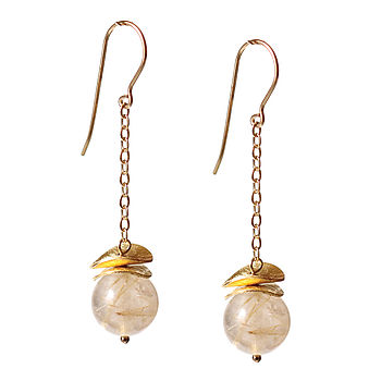 Gold Quartz And 14k Gold Fill Earrings