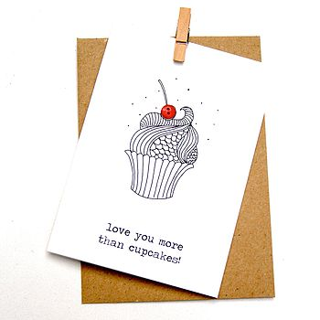 'Love you more than cupcakes' Button Box Card