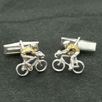 Yellow Jersey Silver Cyclist Cufflinks