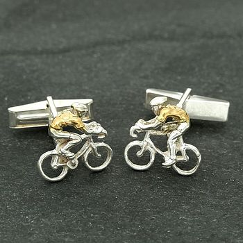 Yellow Jersey Silver Cyclist Cufflinks