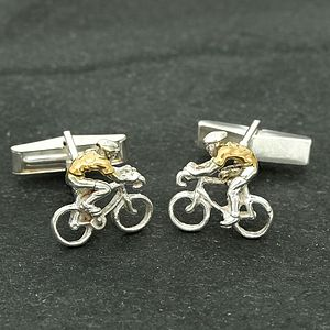 Yellow Jersey Silver Cyclist Cufflinks - i want to ride my bicycle