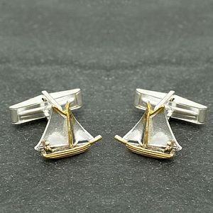 Solid Silver And Gold Sailboat Cufflinks - cufflinks