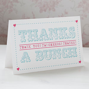 'Thanks A Bunch' Typography Thank You Card - wedding stationery