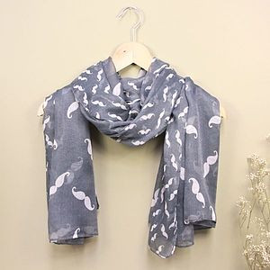 Moustache Print Scarf - women's accessories