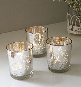 Set Of Two Silvered Tea Light Holders - candles & candlesticks