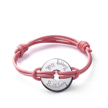 Personalised Birthday Open Disc Bracelet