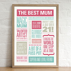 Personalised Best Mum Print - mother's day gifts