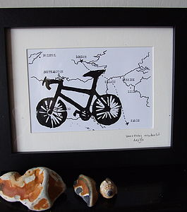 Framed Bike Print On Hand Drawn Bespoke Map - posters & prints