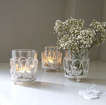 White Lattice Vase Or Tea Light Holder