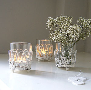 White Lattice Vase Or Tea Light Holder - candles & candlesticks