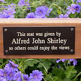 Personalised Memorial Bench Plaque - garden