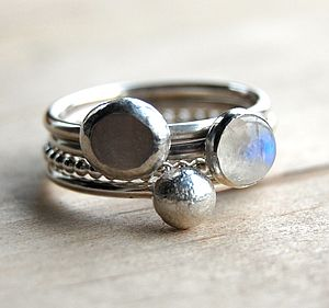 Moonlight Silver And Moonstone Stacking Rings - birthstone jewellery gifts
