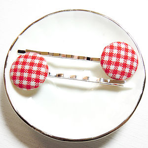 Gingham Fabric Hair Clips