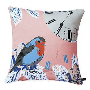 Vintage Clock With Robin Bird Cushion - winter sale