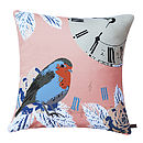 Vintage Clock With Robin Bird Cushion