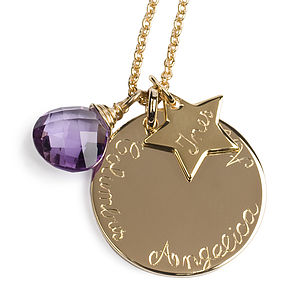 Personalised Gold Plated Disc Necklace - necklaces & pendants
