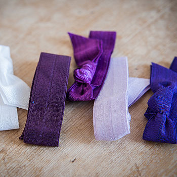 Set Of Five Ombre Ribbon Hair Ties