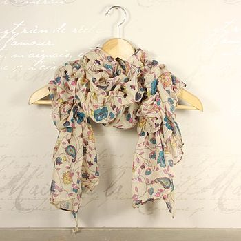 Floral And Paisley Ruffle Scarf
