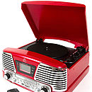 GPO Memphis Retro Style Vinyl Record Player Red