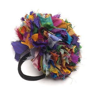 Handmade Recyled Silk Ruffled Hair Accessory - hair accessories