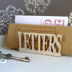 Retro Wooden 'Letters' Holder - stationery