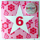 Girl's Personalised Star Age Card With Badge
