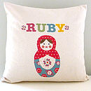 Girl's Personalised Doll Cushion