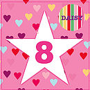 Girls Personalised Star Age Card With Badge