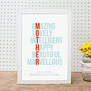 'Amazing' Mum Personalised Print