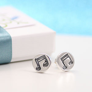 Musical Notes Silver Ear Studs - earrings
