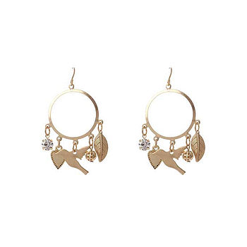 Birdie Heart Hoop Gold Earrings