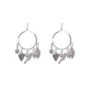 Birdie Heart Hoop Silver Earrings