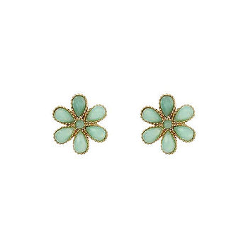 Semi Precious Flower Stud Earrings