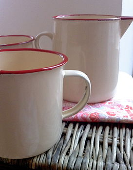 Enamel Jug And Two Mugs Set