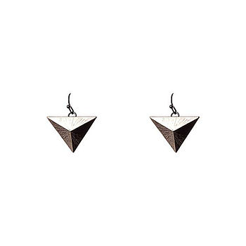 Triangle Dangle Earrings Metallic